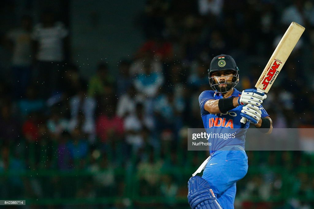 Indian cricket captain Virat Kohli plays a shot during the 5th and final One Day International cricket match between Sri Lanka and India at the R Premadasa international cricket stadium at Colombo, Sri Lanka on Sunday 3 September 2017.