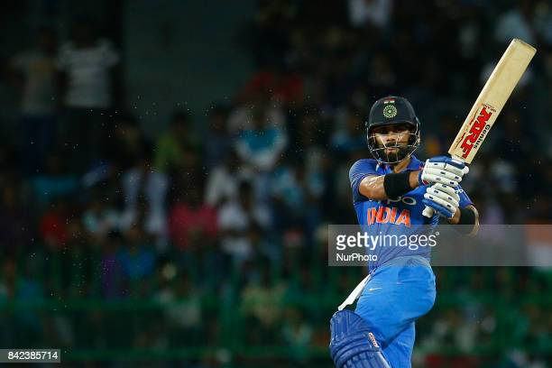 Indian cricket captain Virat Kohli plays a shot during the 5th and final One Day International cricket match between Sri Lanka and India at the R...