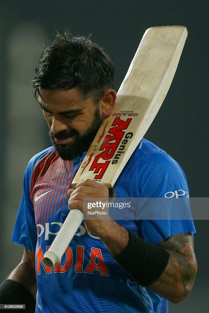 Indian cricket captain Virat Kohli raises his bat in acknowledgement after his dismissal during the 1st and only T-20 cricket match between Sri Lanka and India at R Premadasa International cricket stadium in Colombo, Sri Lanka on Wednesday 6 September 2017.