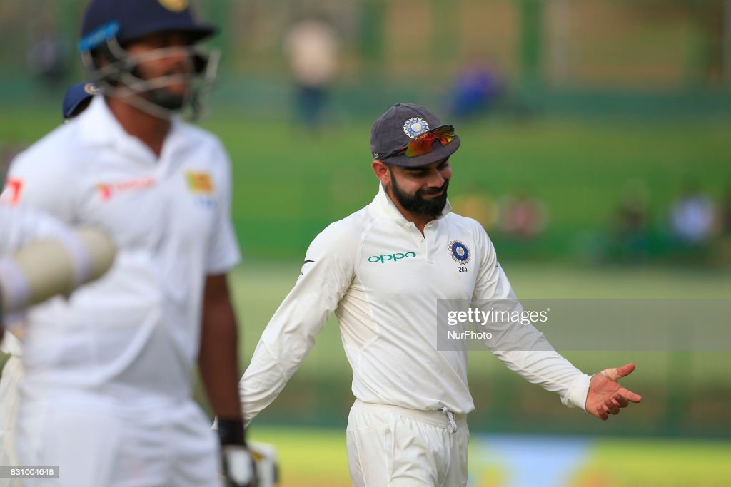 Indian cricket captain Virat Kohli reacts after Sri Lanka's 1st innings finished during the 2nd Day's play in the 3rd Test match between Sri Lanka and India at the Pallekele International cricket stadium, Kandy, Sri Lanka on Sunday 13 August 2017.