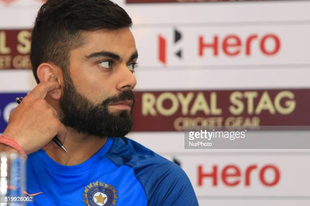 Indian cricket captain Virat Kohli reacts during a press conference at Colombo Sri Lanka on Thursday 20 July 2017 India will play 3 test matches 5...