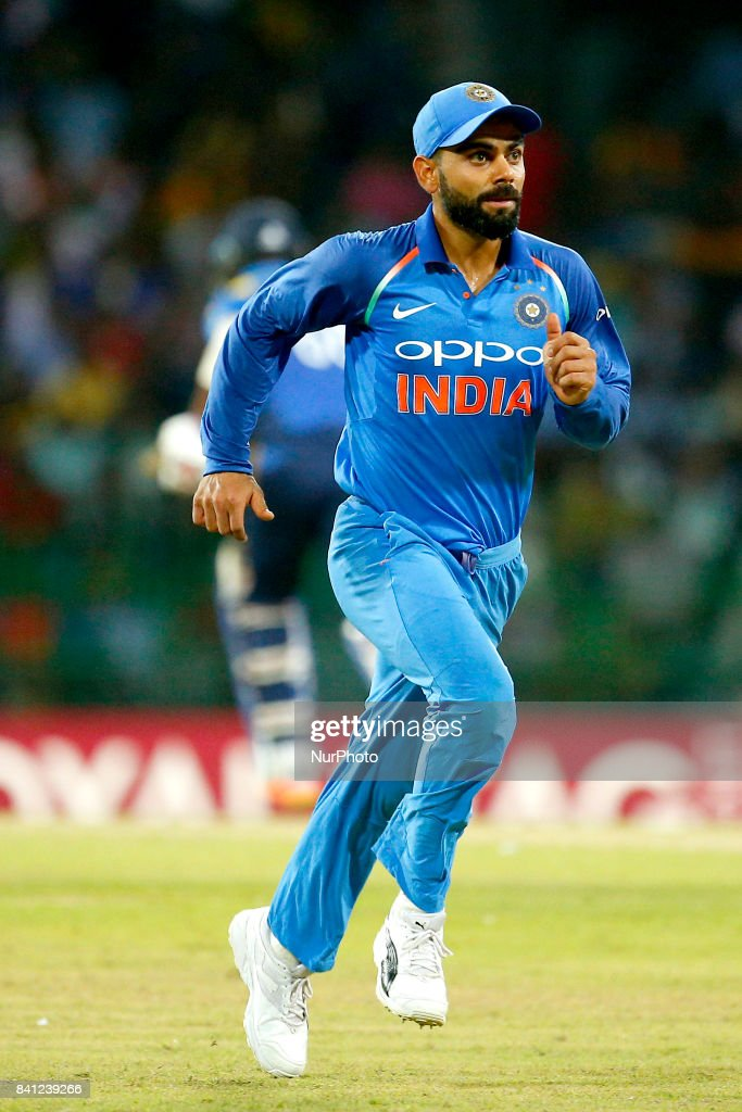 Indian cricket captain Virat Kohli runs after the ball during the 4th One Day International cricket match between Sri Lanka and India at the R Premadasa international cricket stadium at Colombo, Sri Lanka on Thursday 31 August 2017.