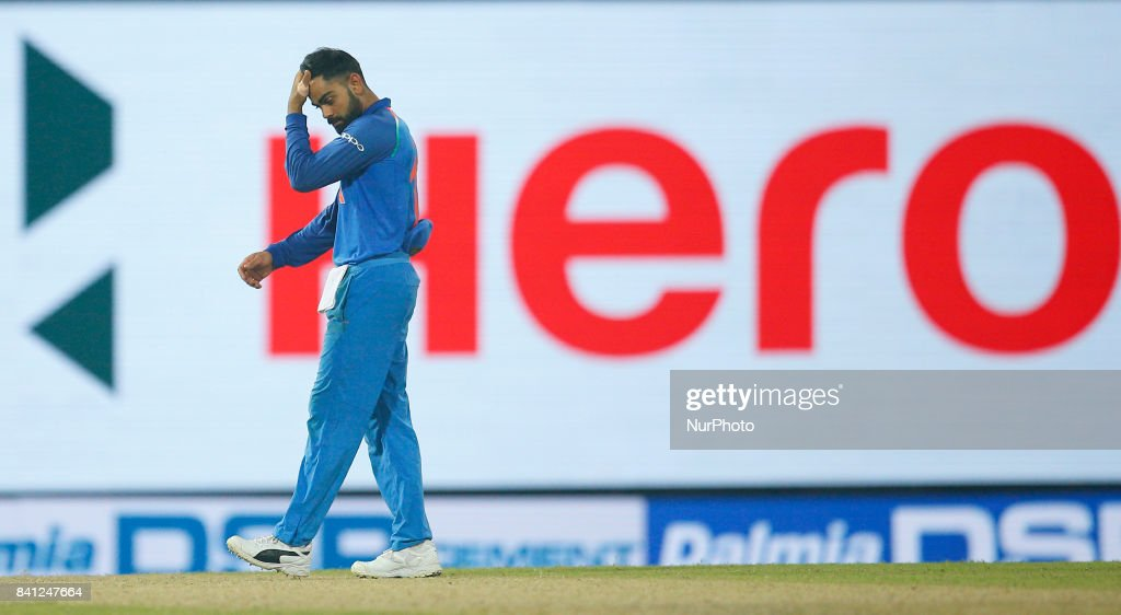 Indian cricket captain Virat Kohli walks back to the pavilion after beating Sri Lanka by 168 runs during the 4th One Day International cricket match between Sri Lanka and India at the R Premadasa international cricket stadium at Colombo, Sri Lanka on Thursday 31 August 2017.