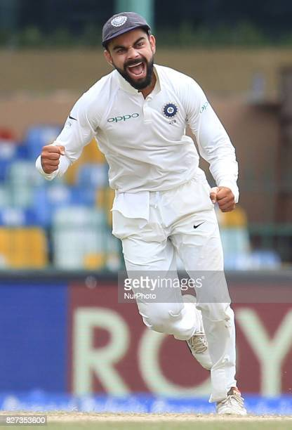 Indian cricket captain Virat Kolhi in celebration mood after Sri Lankan captain Dinesh Chandimal was dismissed during the 4th Day's play in the 2nd...