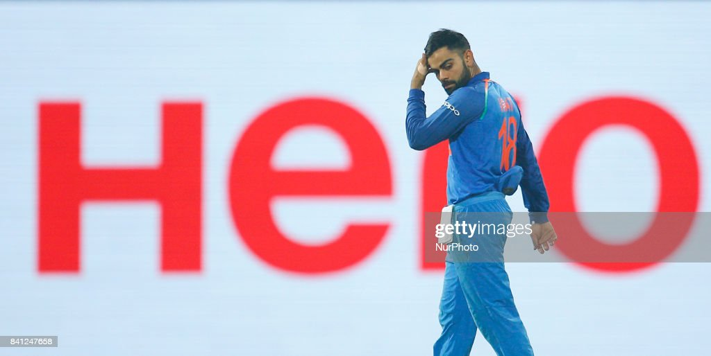 Indian cricket captain walks back to the pavilion after defeating Sri Lanka during the 4th One Day International cricket match between Sri Lanka and India at the R Premadasa international cricket stadium at Colombo, Sri Lanka on Thursday 31 August 2017.