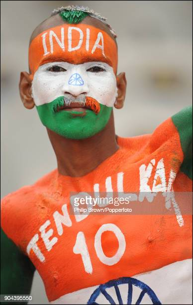 Indian cricket fan Sudhir Kumar Gautam waiting for the start of the 2nd Test match between India and England at the Punjab Cricket Association...