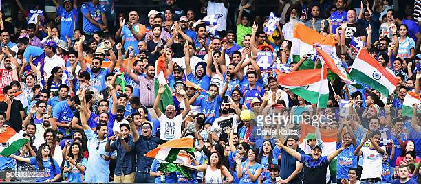 Indian cricket fans enjoy the atmosphere during game one of the Twenty20 International match between Australia and India at Adelaide Oval on January...