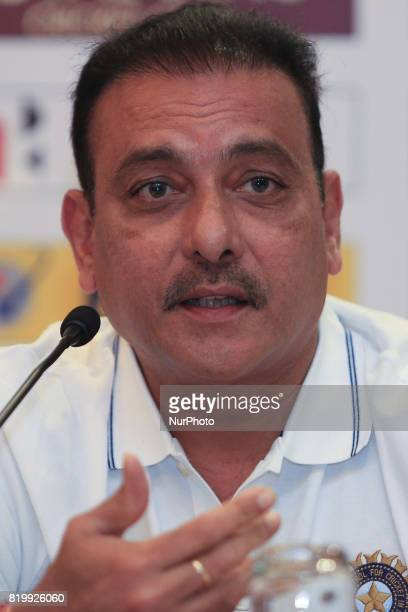 Indian cricket head coach Ravi Shastri speaks during a press conference at Colombo Sri Lanka on Thursday 20 July 2017 India will play 3 test matches...