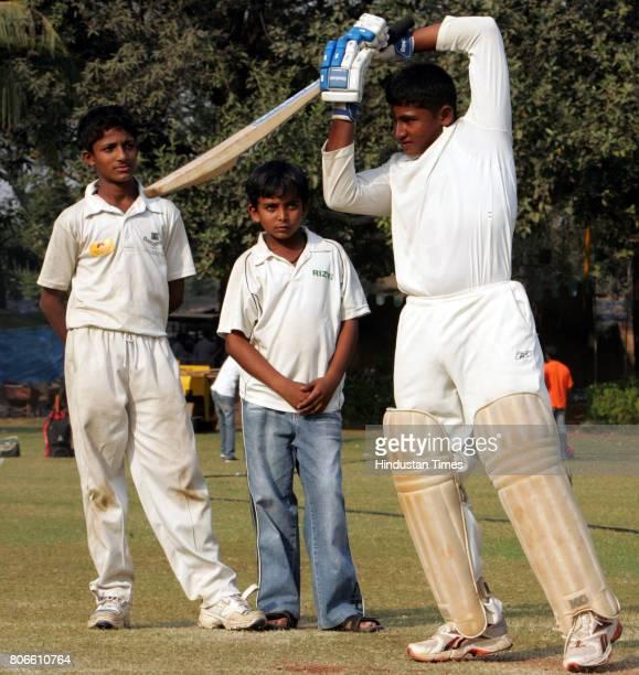Indian Cricket School Cricket Sarfaraz Khan Armaan Jaffer and Prithvi Shaw in Mumbai on Thursday