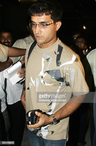 Indian cricket team captain Sourav Ganguly arrives for a press conference prior to the departure of the team for Zimbabwe in Mumbai 22 August 2005...