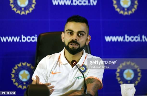 Indian Cricket Team captain Virat Kohli addresses the media before leaving for England Tour at a hotel in Aero City on June 22 2018 in New Delhi...