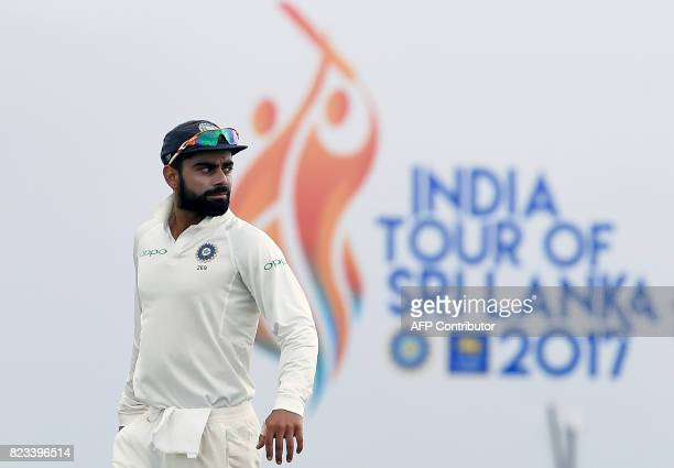 Indian cricket team captain Virat Kohli looks on during the second day of the first Test match between Sri Lanka and India at Galle International...