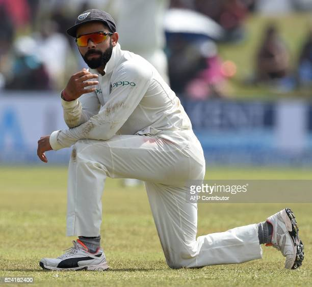 Indian cricket team captain Virat Kohli reacts during the fourth day of the first Test match between Sri Lanka and India at Galle International...