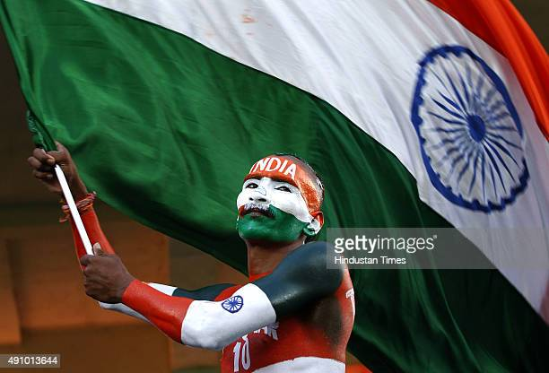 Indian cricket team fan during the 1st T20 cricket match between India and South Africa at Himachal Pradesh Cricket Association Stadium at...