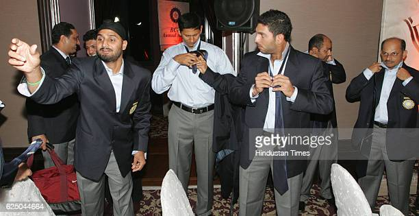 Indian cricket team members Harbhajan Singh bowling coach VPrasad Yuvraj SIngh Virendra Sehwag and manager Lalchand Rajput gets ready for the group...