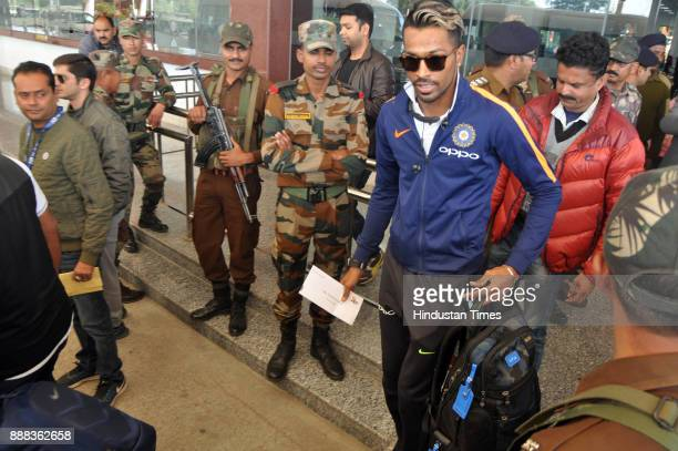 Indian cricket team player Hardik Pandya arrives at Gaggal Airport on December 8 2017 in Dharamsala India Paytm ODI Trophy India Vs Sri Lanka event...