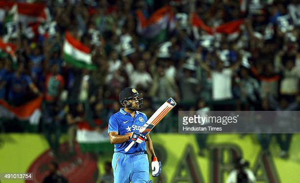 Indian cricket team player Rohit Sharma after his 50 against South Africa during the 1st T20 cricket match between India and South Africa at Himachal...