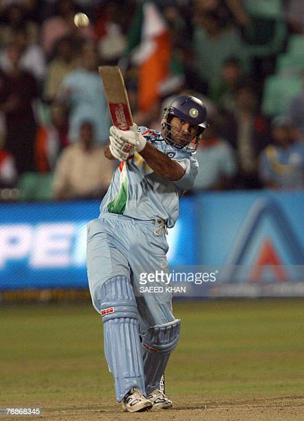 Indian cricket team player Yuvraj Singh leaves ground after his innings against England in the ICC World Twenty20 championship match at the Kingsmead...