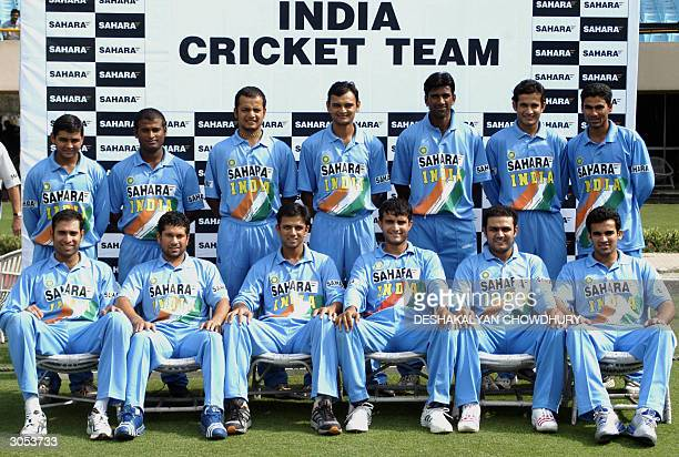 Indian cricket team poses for a group photo during the second day of a conditioning camp at Eden Gardens in Calcutta 08 March 2004 Ahead of the...