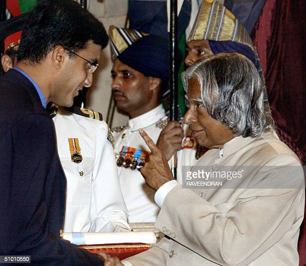 Indian cricket team's captain Sourav Ganguly receives the Padma Shri award India's second highest award from Indian President APJ Abdul Kalam during...