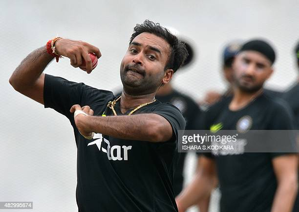 Indian cricketer Amit Mishra delivers a ball at a practice session at the R Premadasa International Cricket Stadium in Colombo on August 5 2015 The...