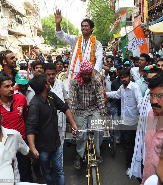 Indian cricketer and Congress candidate for Phulpur seat Mohammad Kaif going to file his nomination papers for Lok Sabha poll on April 15 2014 in...