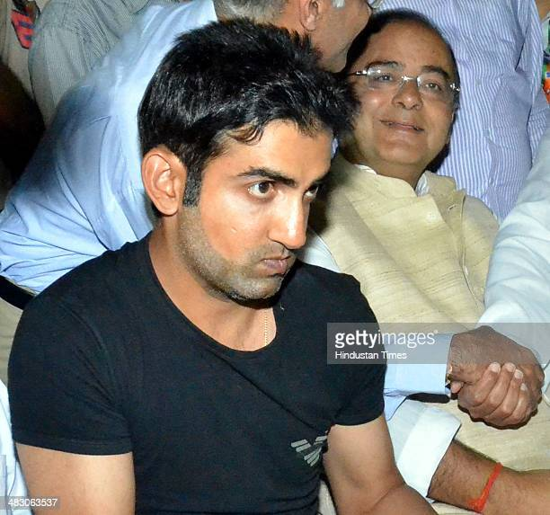 Indian cricketer Gautam Gambhir alongwith BJP Lok Sabha Candidate from Amritsar Arun Jaitley during an election campaign in favour of Arun Jaitley on...