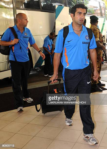 Indian cricketer Gautam Gambhir arrives with his team in Colombo on September 9 2009 India New Zealand and Sri Lanka began a oneday international...
