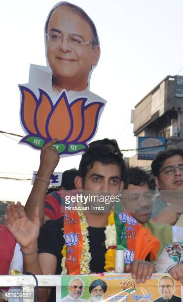 Indian cricketer Gautam Gambhir during an election campaign road show in favour of Arun Jaitley BJP Lok Sabha Candidate from Amritsar on Apriil 5...
