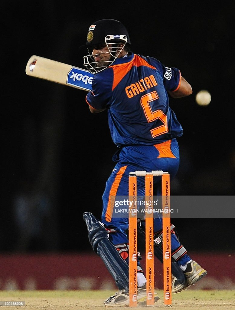 Indian cricketer Gautam Gambhir plays a shot during the second One Day International (ODI) cricket match of the Asia Cup between India and Bangladesh at the Rangiri Dambulla International Cricket stadium in Dambulla, some 150 kms north of Colombo, on June 16, 2010. India won by 6 wickets. AFP PHOTO/Lakruwan WANNIARACHCHI
