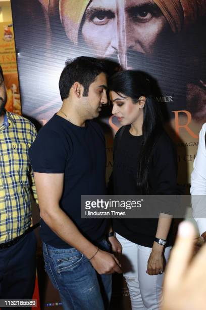 Indian cricketer Gautam Gambhir with his wife Natasha Jain during a special screening of a movie Kesari organized by World Punjabi Organization at...