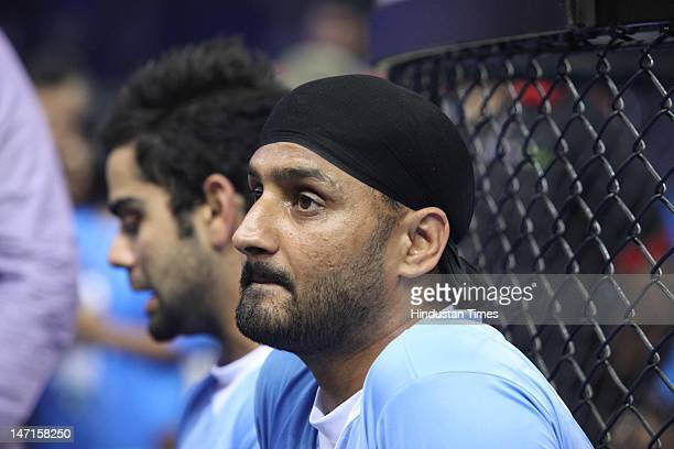 Indian Cricketer Harbhajan Singh at an exhibition indoor football match at the Pepsi T20 Football finale on June 17 2012 in New Delhi India
