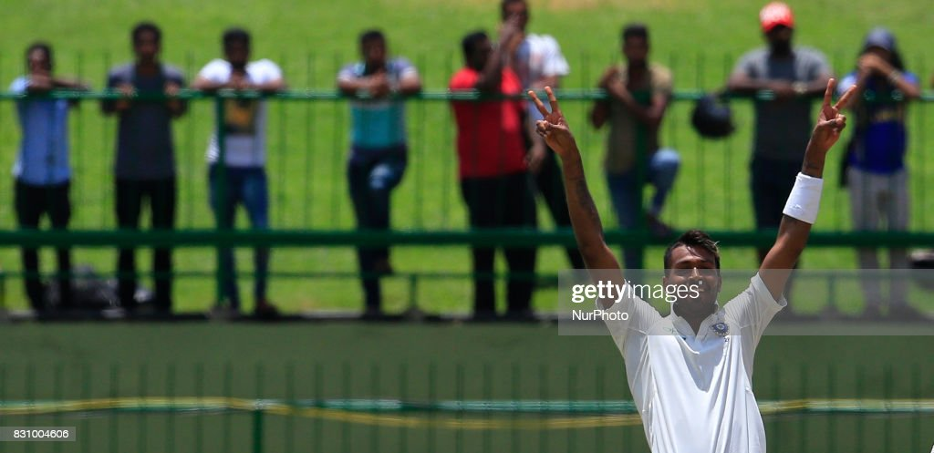 Indian cricketer Hardik Pandya celebrates after scoring 100 runs during the 2nd Day's play in the 3rd Test match between Sri Lanka and India at the Pallekele International cricket stadium, Kandy, Sri Lanka on Sunday 13 August 2017.