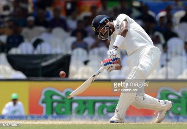 Indian cricketer Hardik Pandya plays a shot during the second day of the second Test match between Sri Lanka and India at the Sinhalease Sports Club...