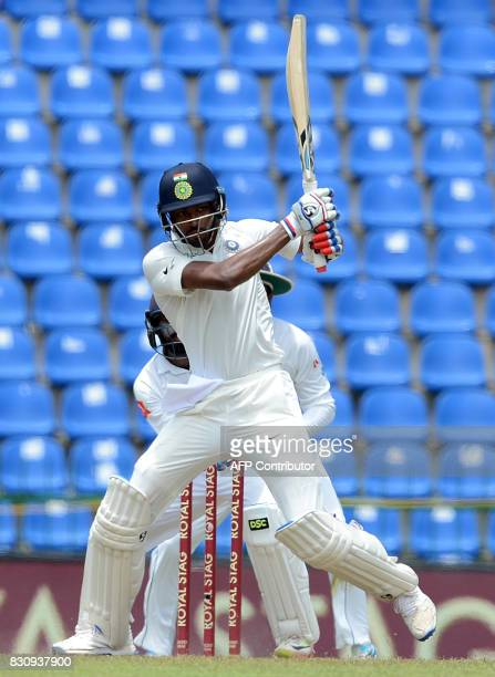 Indian cricketer Hardik Pandya plays a shot during the second day of the third and final Test match between Sri Lanka and India at the Pallekele...