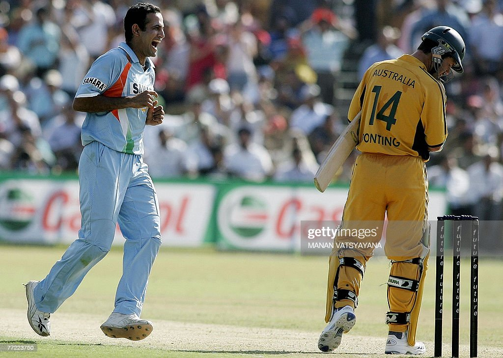 Indian cricketer Irfan Pathan celebrates after taking the wicket of Australian captain Ricky Ponting during the fourth OneDay International match in..