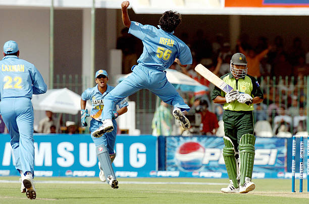 Indian cricketer Irfan Pathan jumps in the air as he celebrates dismissing Pakistani batsman Yousuf Youhana during the fourth One Day International...