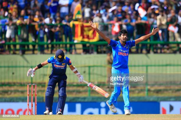 Indian cricketer Jasprit Bumrah appeals during the 3rd One Day International cricket match between Sri Lanka and India at the Pallekele international...