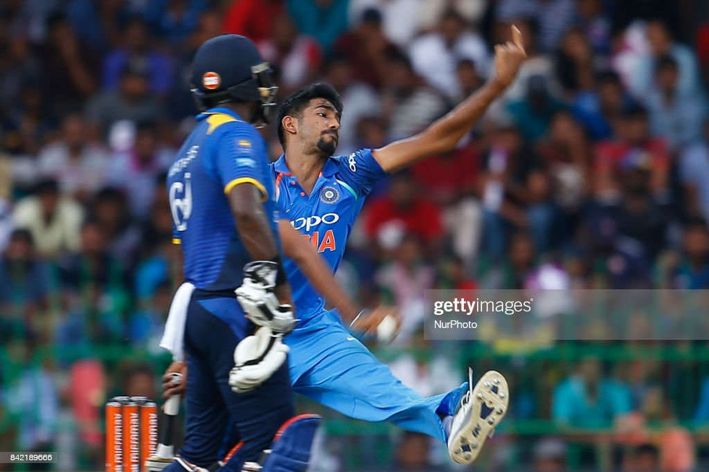 Indian cricketer Jasprit Bumrah delivers a ball during the 5th and final One Day International cricket match between Sri Lanka and India at the R Premadasa international cricket stadium at Colombo, Sri Lanka on Sunday 3 September 2017.