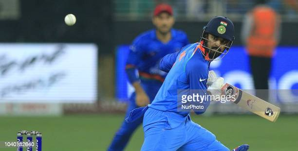 Indian cricketer KL Rahul plays a shot during the Asia Cup 2018 cricket match between India and Afghanistan at Dubai International cricket...