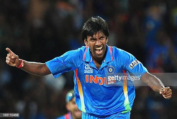 Indian cricketer Lakshmipathy Balaji celebrates after he dismissed Pakistan batsman Shahid Afridi during the ICC Twenty20 Cricket World Cup's Super...