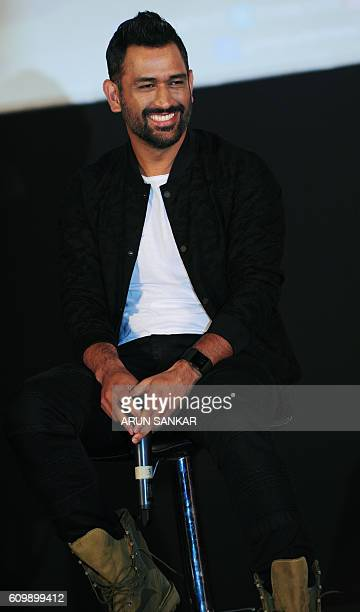 Indian cricketer Mahinder Singh Dhoni takes part in a promotional event for the forthcoming biopic 'Dhoni' in Chennai on September 23 2016 / AFP /...