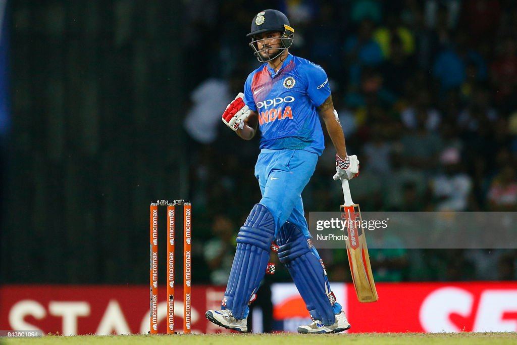 Indian cricketer Manish Pandey gestures after hitting the winning runs during the 1st and only T-20 cricket match between Sri Lanka and India at R Premadasa International cricket stadium in Colombo, Sri Lanka on Wednesday 6 September 2017