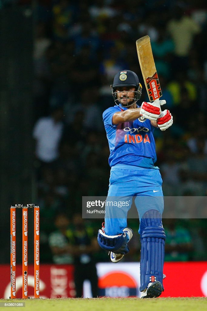Indian cricketer Manish Pandey hits the winning runs during the 1st and only T-20 cricket match between Sri Lanka and India at R Premadasa International cricket stadium in Colombo, Sri Lanka on Wednesday 6 September 2017