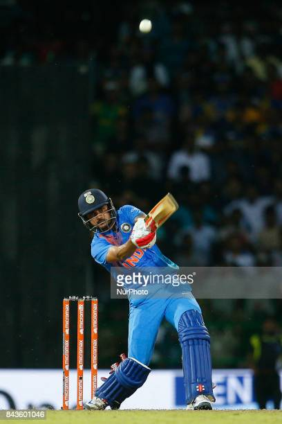 Indian cricketer Manish Pandey plays a shot during the 1st and only T20 cricket match between Sri Lanka and India at R Premadasa International...