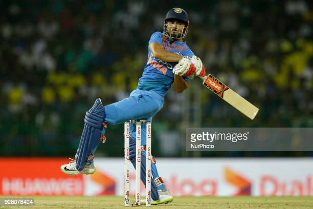 Indian cricketer Manish Pandey plays a shot during the 1st T20 cricket match of NIDAHAS Trophy between Sri Lanka and India at R Premadasa cricket...