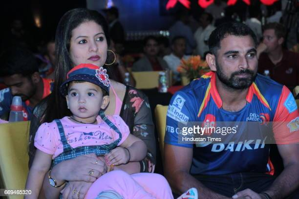 Indian Cricketer Mohammed Shami with his wife Hasin Jahan and daughter Aaira Shami at a party hosted by Daikin to celebrate the three years of...