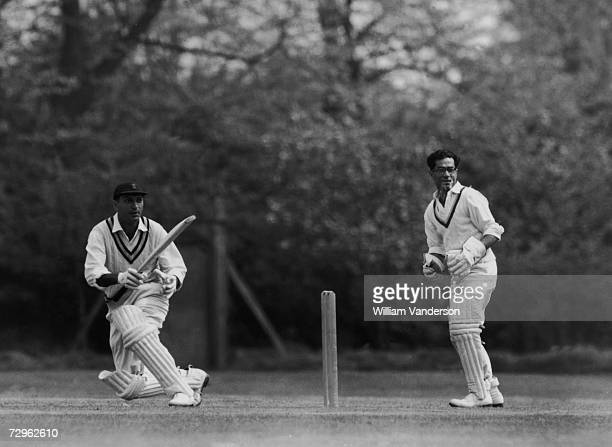 Indian cricketer Polly Umrigar batting during a practice session for the Indian team at Osterley Middlesex 23rd April 1959