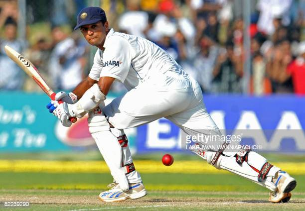 Indian cricketer Rahul Dravid bats during the third day of the third and final Test match between India and Sri Lanka at The P Saravanamuttu Stadium...