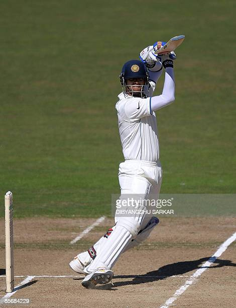 Indian cricketer Rahul Dravid plays a shot during the fourth day of the second Test match between New Zealand and India at the McLean Park in Napier...